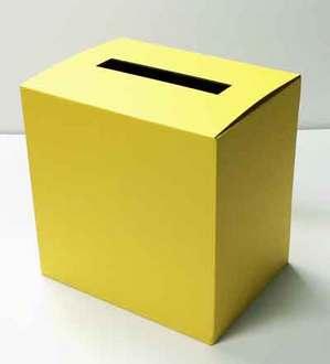 黄色のアンケート回収箱