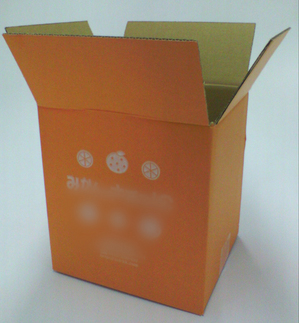 みかんをイメージしたカラーダンボール箱